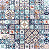 Vector seamless texture. Mega patchwork pattern with decorative elements