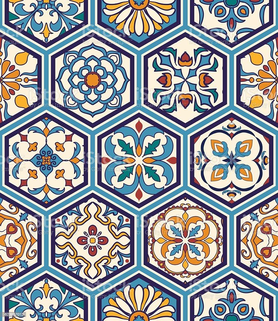 Vector seamless texture. Mega patchwork pattern with decorative elements vector art illustration