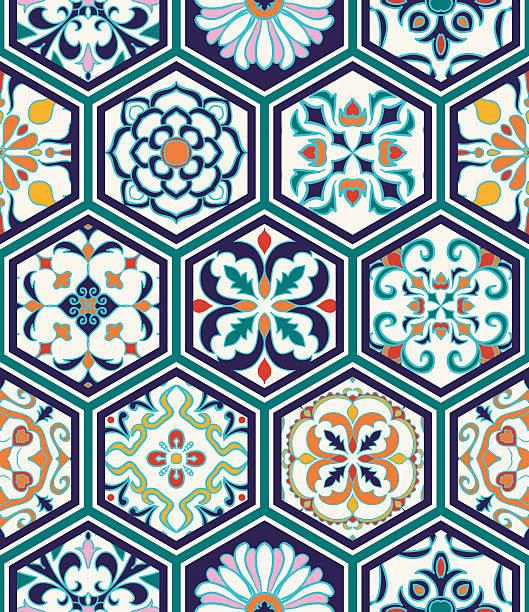 stockillustraties, clipart, cartoons en iconen met vector seamless texture. patchwork pattern with decorative elements in hexagon - turkse cultuur