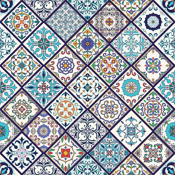 wektorowa bezszwowa tekstura. patchworkowy wzór z elementami dekoracyjnymi - kultura portugalska stock illustrations