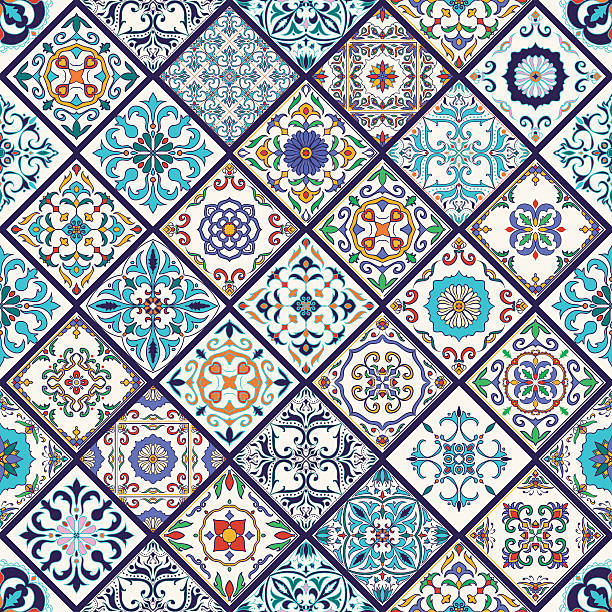 illustrations, cliparts, dessins animés et icônes de vector seamless texture. patchwork pattern with decorative elements - motif de carrelage