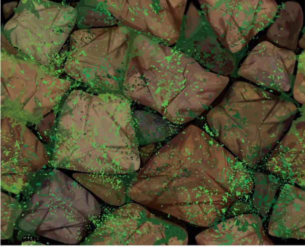Vector seamless texture  stonewall. Vector seamless texture brown stonewall covered moss. moss stock illustrations