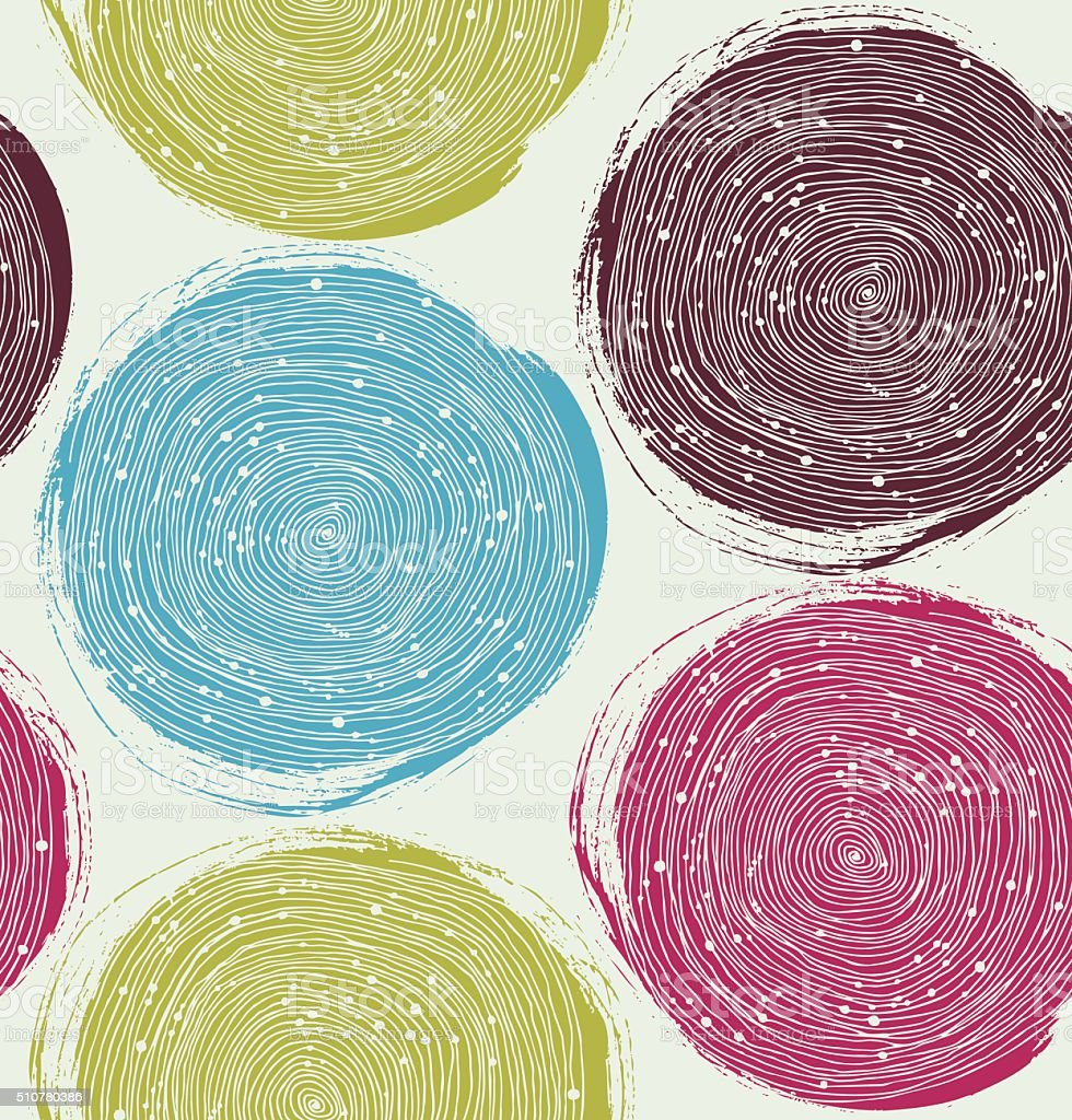 Vector seamless texture with drawn circles vector art illustration
