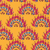 Vector seamless texture with ethnic or psychedelic symbols, doodle vector illustration. Endless background. yellow Red. Ethnic seamless pattern. Vector backdrop. template. Use for wallpaper,pattern fills, web page background