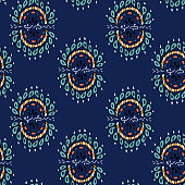 Vector seamless texture with ethnic or psychedelic symbols, doodle vector illustration. Endless background. blue.Ethnic seamless pattern. Vector backdrop. Use for wallpaper,pattern fills, web page background
