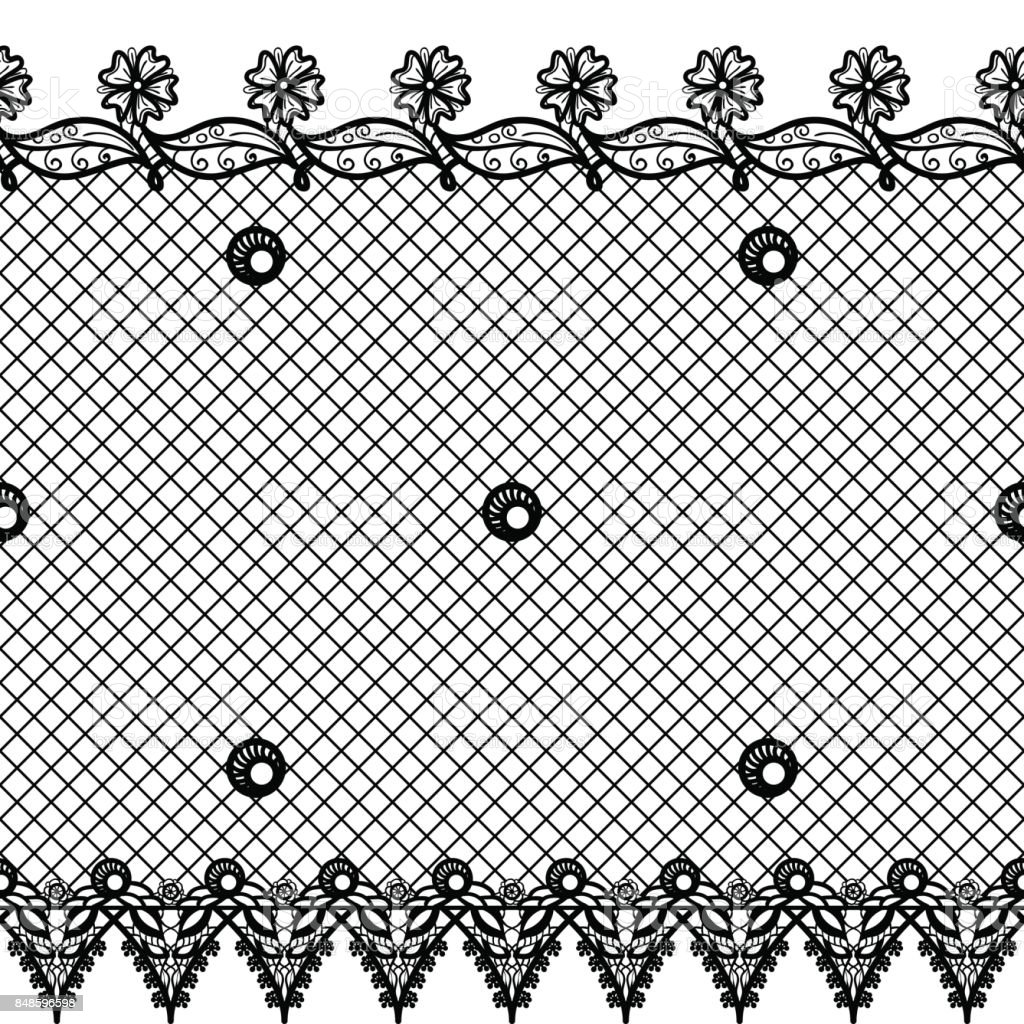 Vector Seamless Texture With Lace Design And Borders Black And White