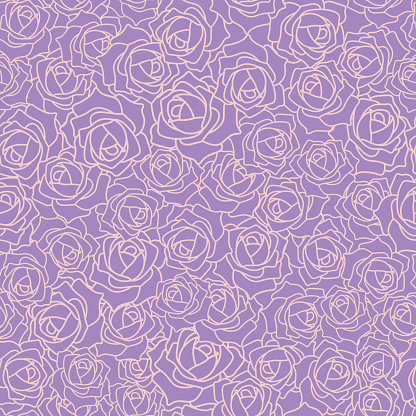 Vector Seamless Texture with Purple Roses