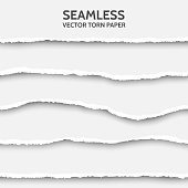 Vector seamless torn paper set on gray background. Ripped cardboard edge isolated with soft shadows. Template for your design. Sample text