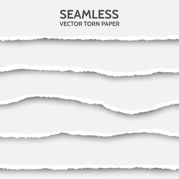 vector seamless torn paper set on gray background. - paper stock illustrations