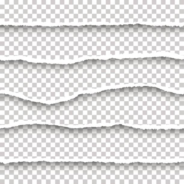 vector seamless torn papers set - at the edge of stock illustrations
