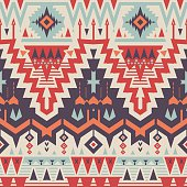 Vector Seamless Tribal Pattern. Geometrical Ethnic Print Ornament with Triangles and Stripes
