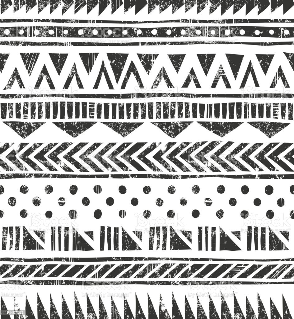 Vector seamless texture de tribal. Primitive fond dans le style grunge géométrique - Illustration vectorielle