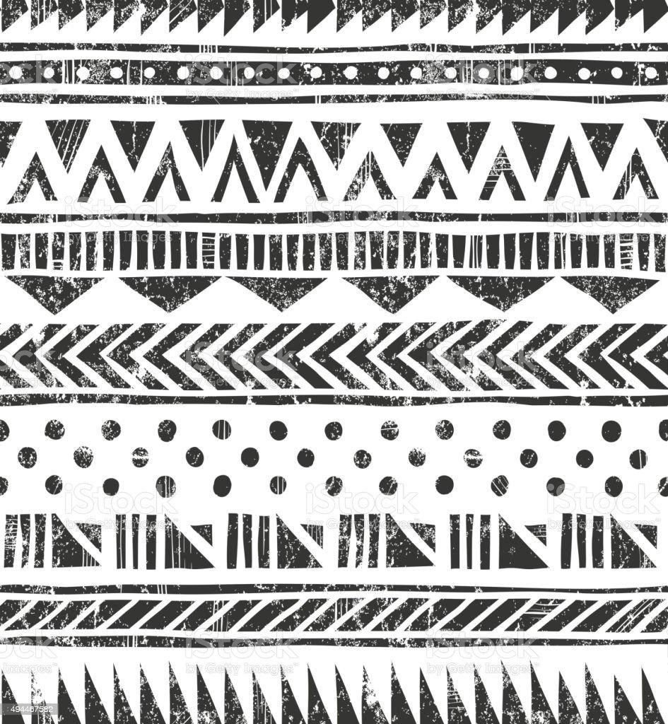 Textura Vector sem costura tribal. Fundo geométrico primitivas em estilo grunge - ilustração de arte em vetor