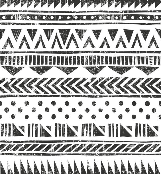 Vector seamless tribal texture. Primitive geometric background in grunge style Hand drawn seamless  texture. Primitive geometric background in grunge style. EPS10 vector illustration. Contains no transparency and blending modes.  indigenous culture stock illustrations