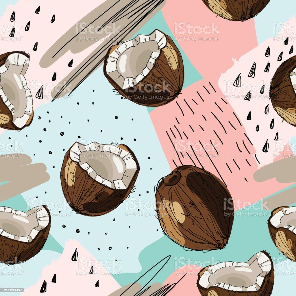 Fondo tropical transparente de vector con tinta dibujado coco. Ilustración de la comida en estilo vintage, impresión, textil, embalaje y otros diseño sin costuras. - ilustración de arte vectorial