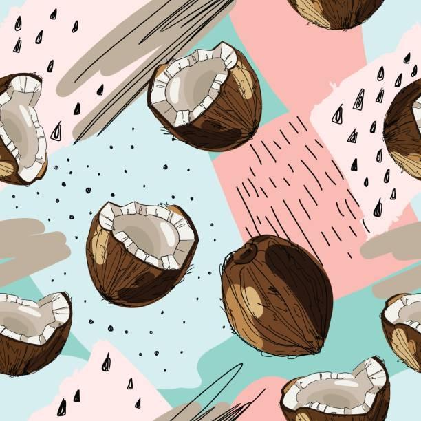 ilustrações, clipart, desenhos animados e ícones de sem costura de fundo tropical vector com tinta desenhada coco. ilustração de comida em estilo vintage para impressão, têxtil, envolvimento e outro projeto sem emenda. - coqueiro
