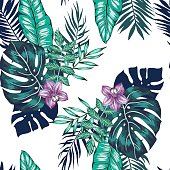 vector seamless tropical leaves in buckets pattern with flowers. orchid flower, palm leaf, monstera leaves, philodendron. modern summer jungle plants background allover print