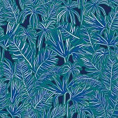 vector seamless tropical palms foliage pattern