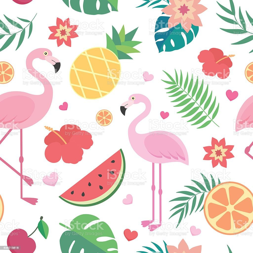 Vector seamless tropical pattern. vector art illustration