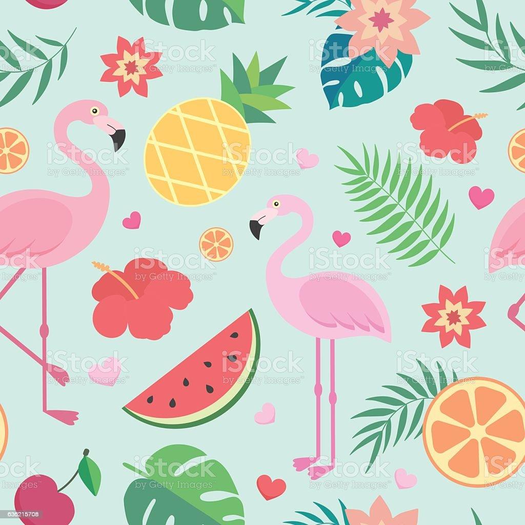 Vector seamless tropical pattern. vector art illustration