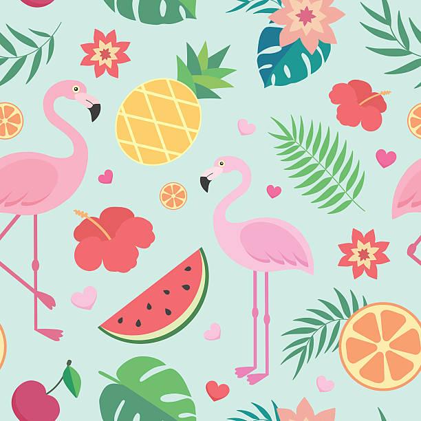 vector seamless tropical pattern. - 野生動物旅行点のイラスト素材/クリップアート素材/マンガ素材/アイコン素材