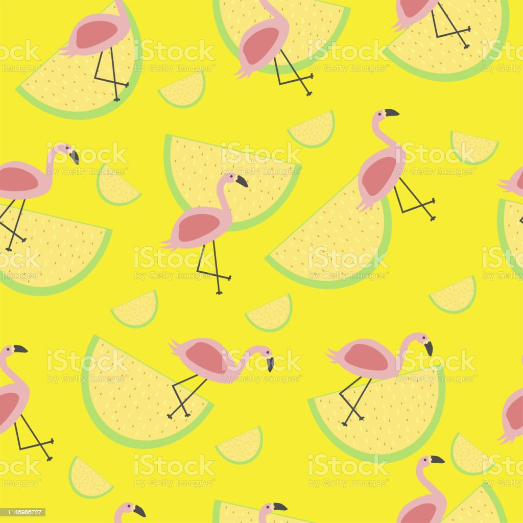 vector seamless tropical pattern with animal pink flamingo lemon...