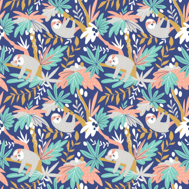 Vector seamless tropical pattern with cute sloths. Hand drawn design for fabric in scandinavian style. vector art illustration