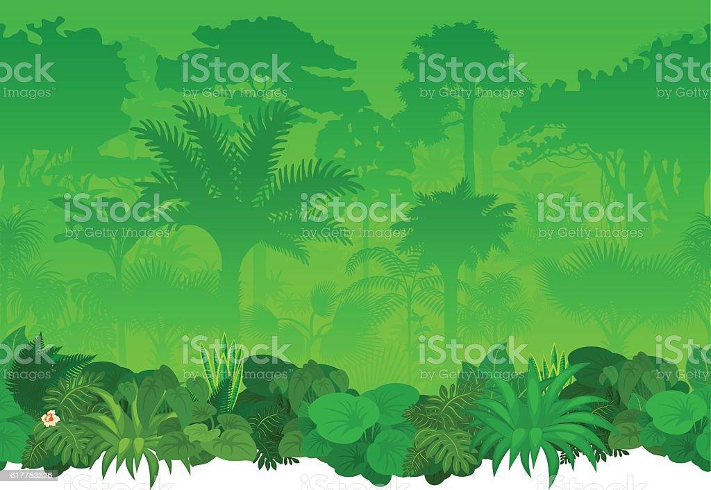 Vector seamless tropical rainforest Jungle background
