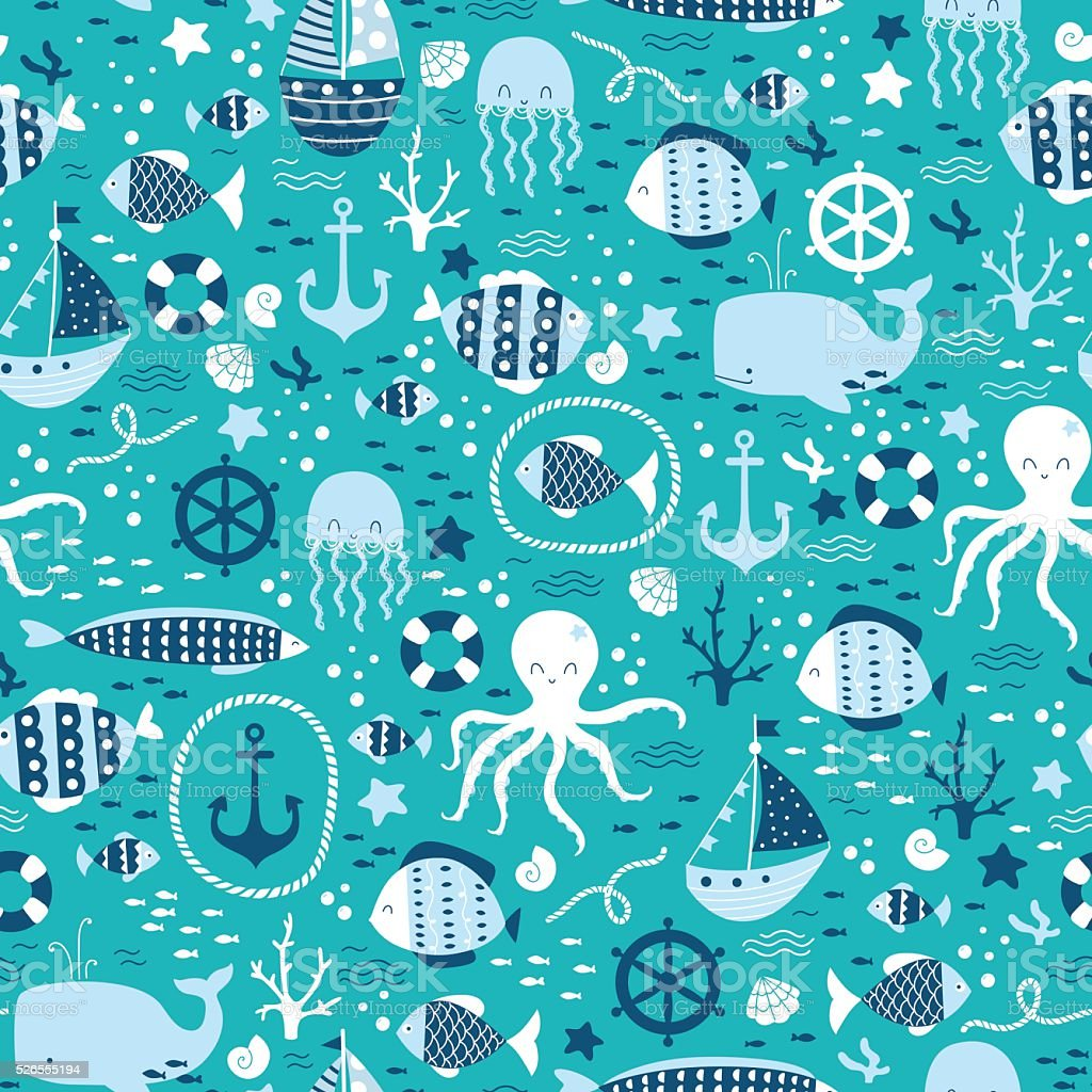 Vector sans soudure motif avec sous-marin poisson, de poulpes et de la baleine - Illustration vectorielle