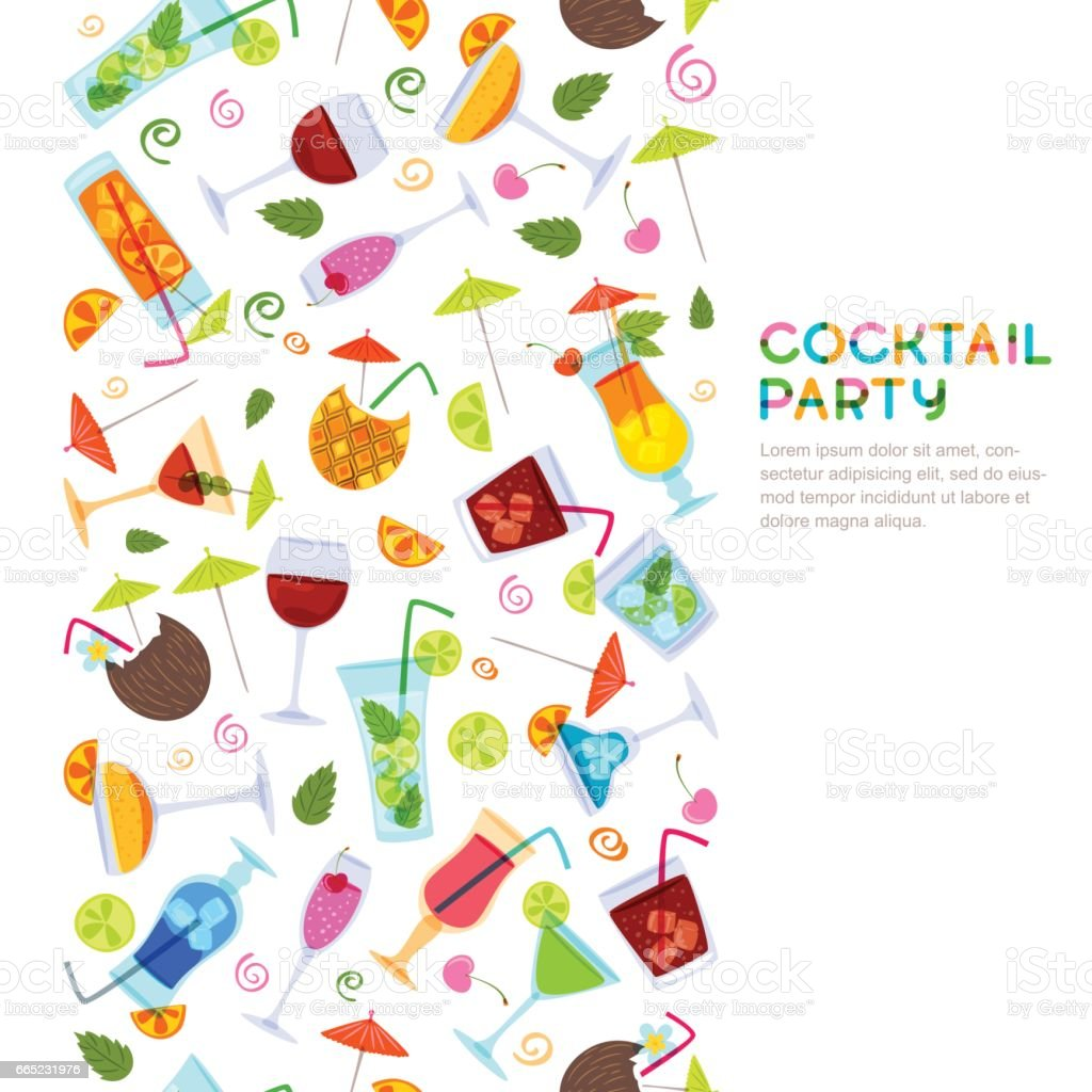 vector seamless vertical background with cocktails juice