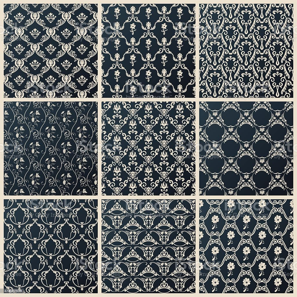 Vector seamless vintage backgrounds set black baroque wallpaper vector art illustration