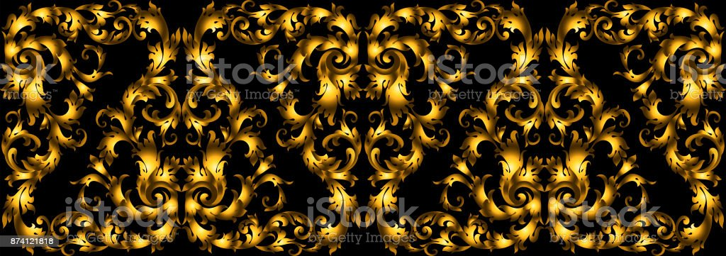 Vector seamless vintage design element. Floral border with stylized baroque scrolls. Golden rich moulding in style of the 19th century. Luxury, black  gold leaves vector art illustration