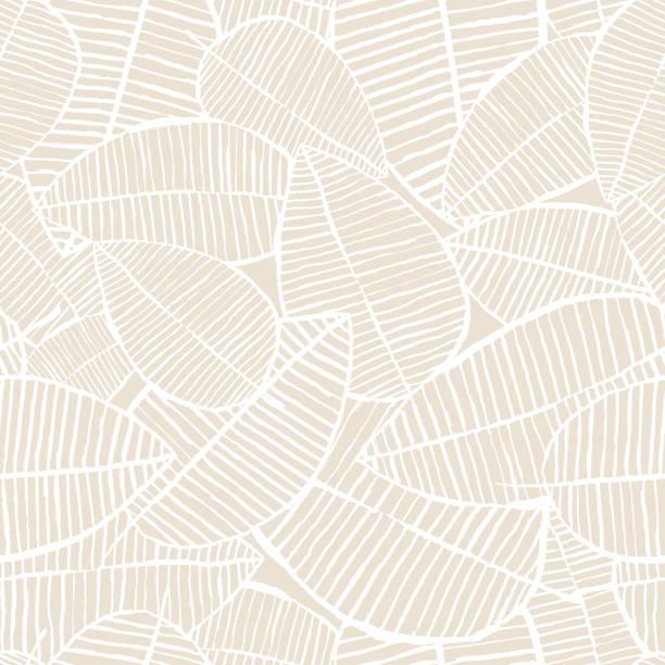 wektor bezszwowy wzór liści akwareli. beżowe i białe wiosenne tło. kwiatowy wzór do druku tekstylnego mody. - beżowy stock illustrations