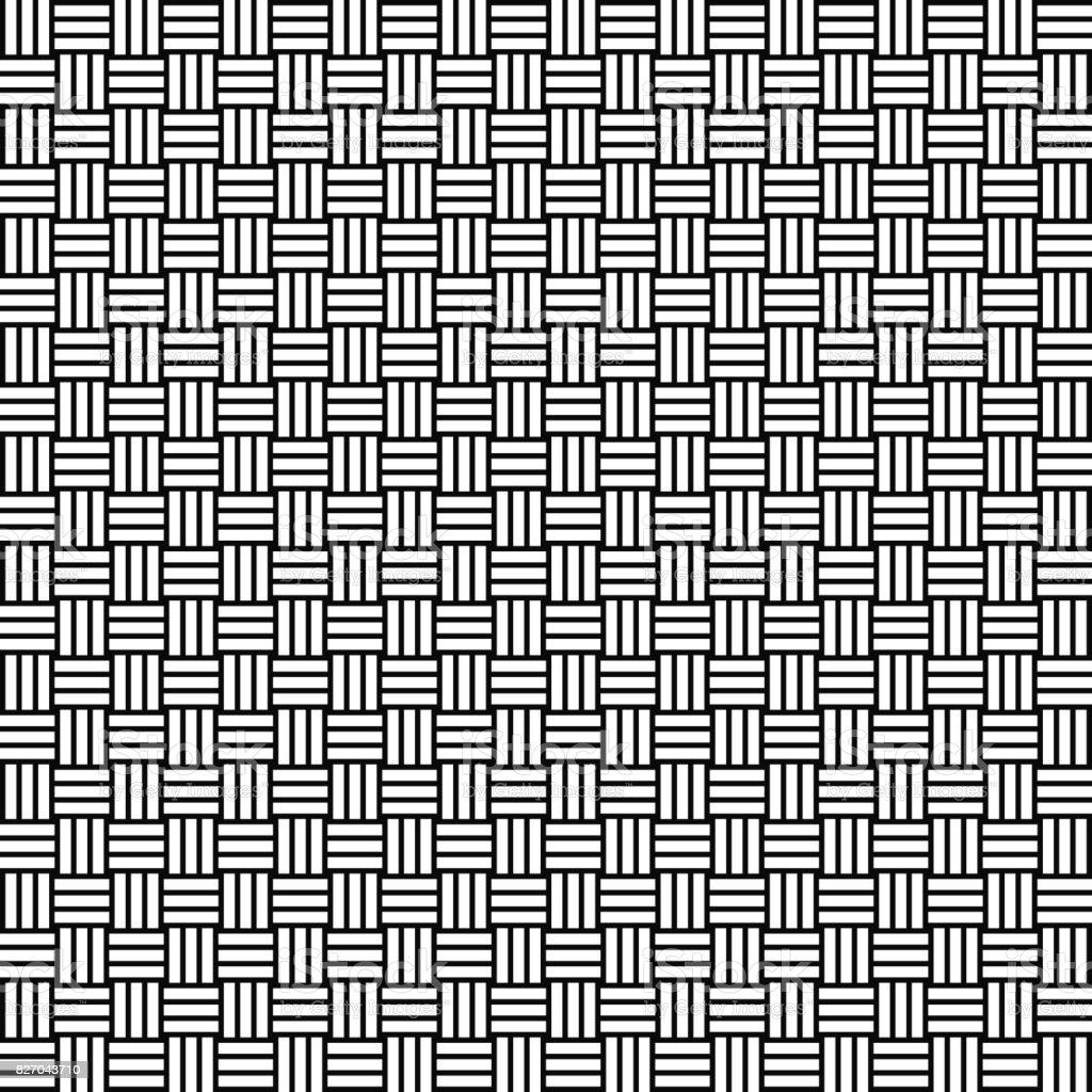 Vector seamless weave pattern. Rattan texture. Black-and-white background. Monochrome design. vector art illustration
