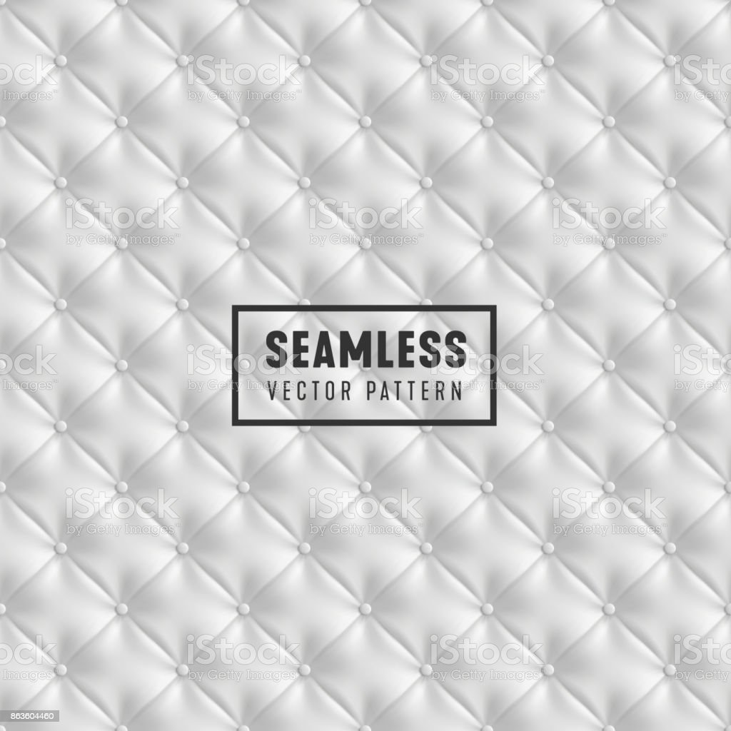 Vector seamless White Upholstery pattern. Leather Sofa textured background. vector art illustration