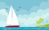 Vector illustration of a boat and summer marine landscape with an island.