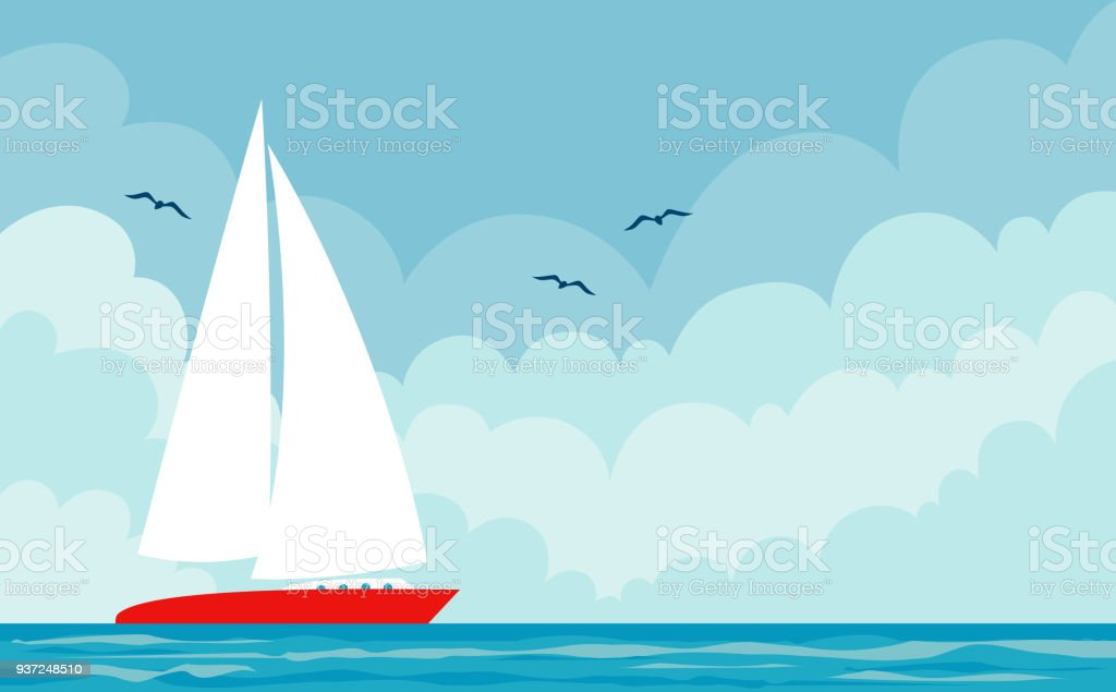 Vector seascape with boat vector art illustration