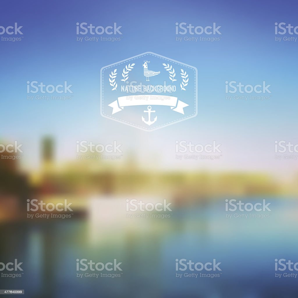 Vector seaside landscape with hipster badge. Outdoor. Barcelona vector art illustration