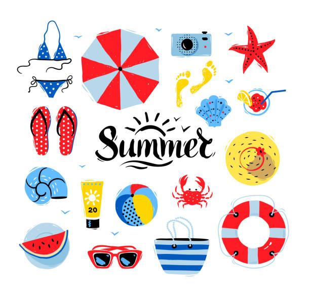 stockillustraties, clipart, cartoons en iconen met vector seaside top view illustrations - sandaal