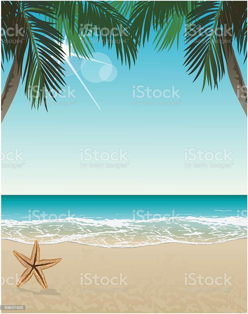 Vector seaside view poster with tropical beach and palms vector art illustration