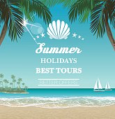 Vector seaside view poster with tropical beach, palms and lettering