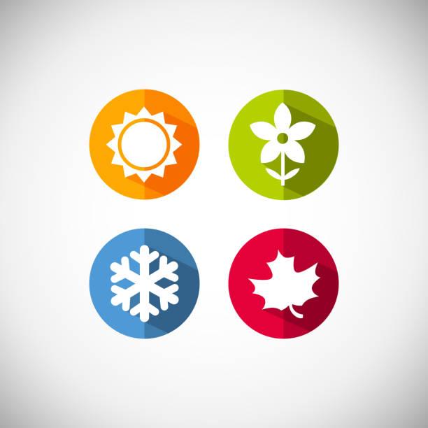 ilustraciones, imágenes clip art, dibujos animados e iconos de stock de vector iconos de la temporada - calendario de naturaleza