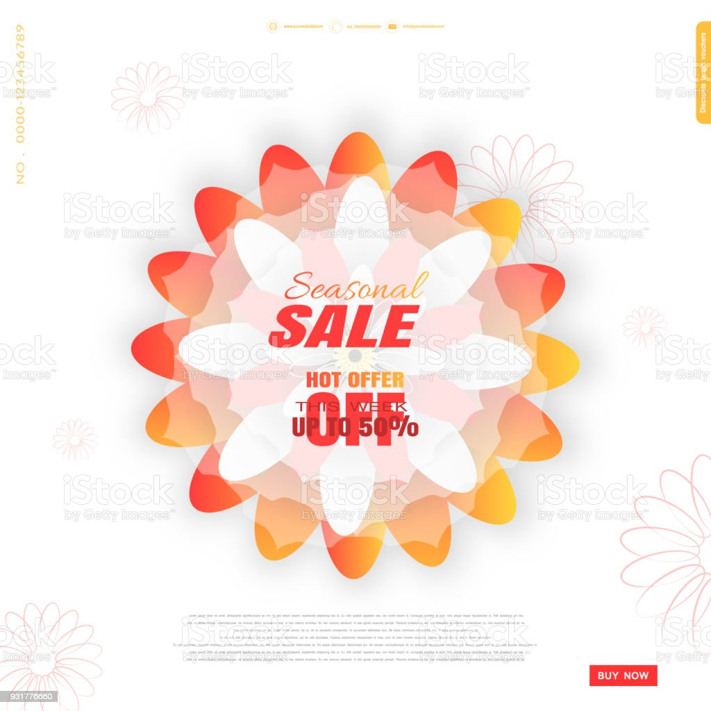 Vector Seasonal Spring Sale Promotional Poster On The White