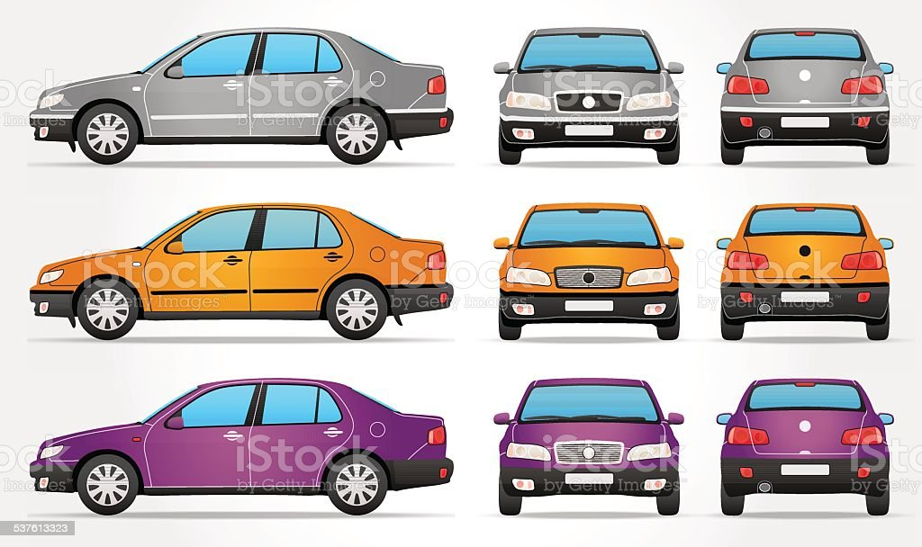 Vector Sedan Car - Side - Front - Rear view vector art illustration