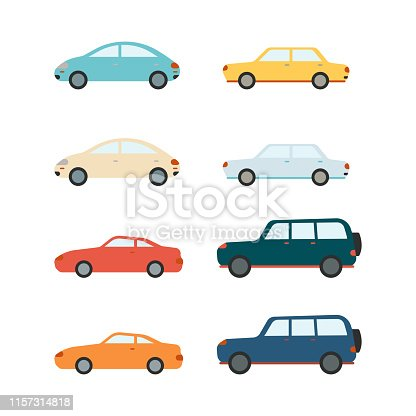 Vector car set. Colored sedans and SUV vehicles collection. Urban cityscape decoration design icons. Passenger trasportation objects, modern cars on isolated background