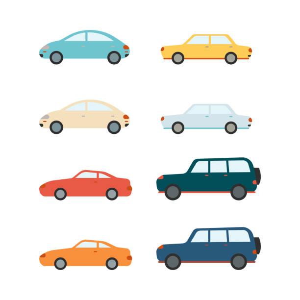 illustrazioni stock, clip art, cartoni animati e icone di tendenza di set di berline vettoriali e suv e auto - auto