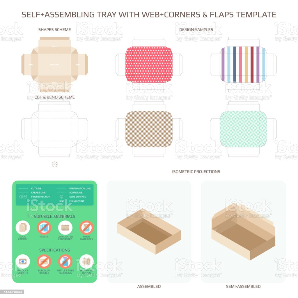 Vector Self Assembling Cardboard Tray With Web Corners And Flaps Templates Set Royalty Free