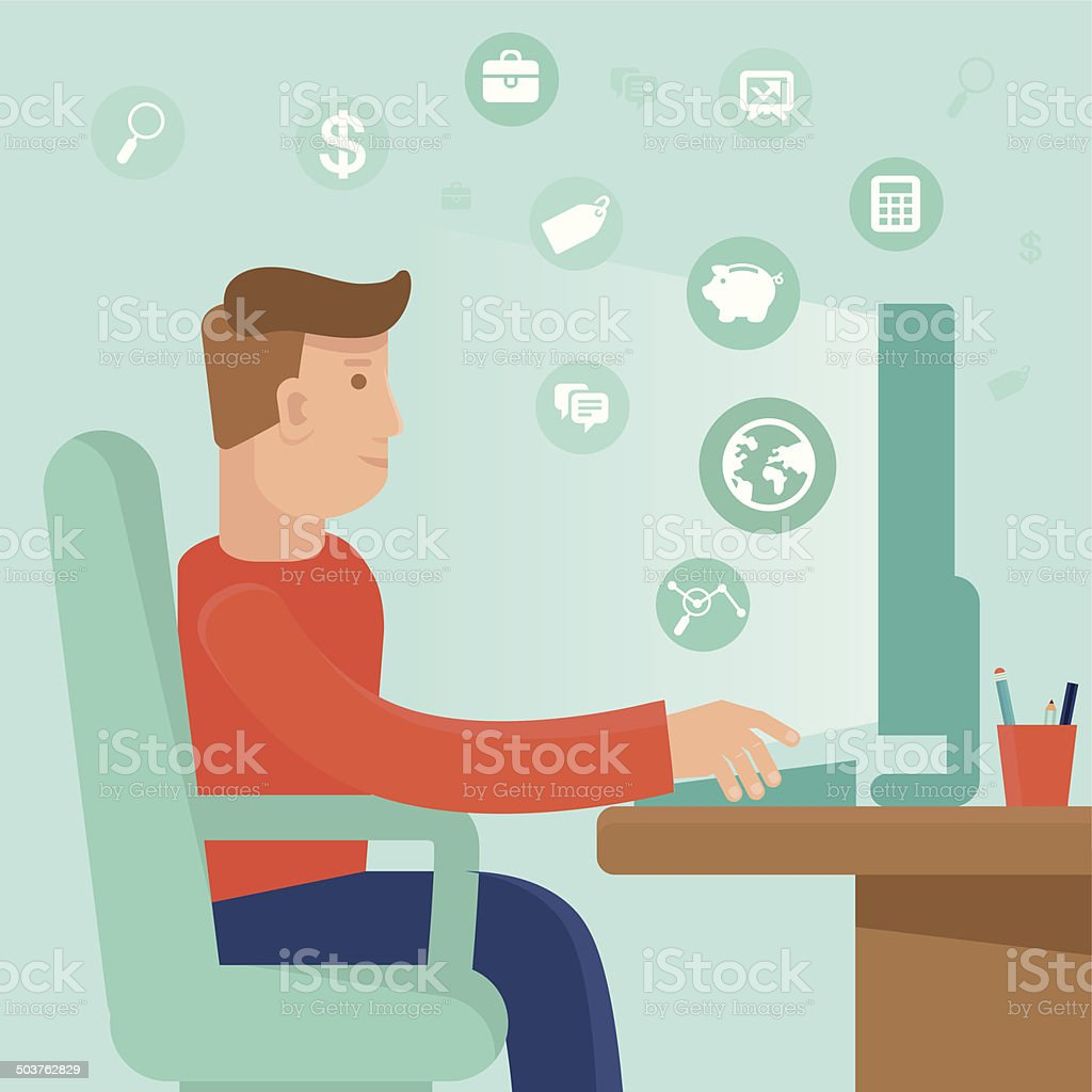 Vector self employed man in flat style royalty-free stock vector art
