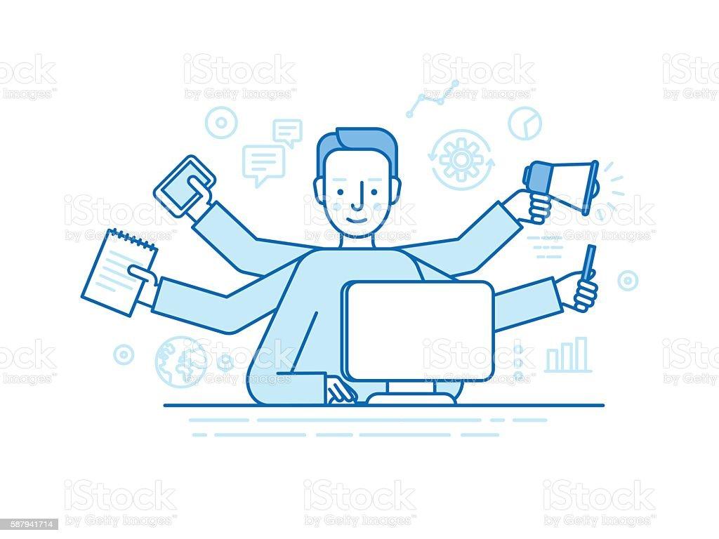 Vector self employment concept ベクターアートイラスト
