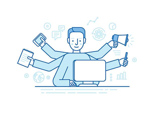 Vector self employment concept - ilustración de arte vectorial